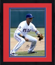 "Framed Michael Young Texas Rangers Autographed 16"" x 20"" Fielding Position Photograph"