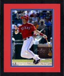 "Framed Michael Young Texas Rangers Autographed 16"" x 20"" Watching Hitting Photograph"