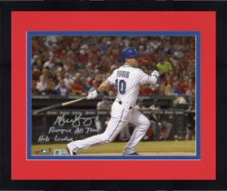 "Framed Michael Young Texas Rangers Autographed 8"" x 10"" Bat Down Photograph with Rangers All-Time Hits Leader Inscription"