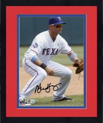 """Framed Michael Young Texas Rangers Autographed 8"""" x 10"""" Fielding Position Photograph"""