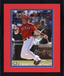 Framed Michael Young Texas Rangers Autographed 8'' x 10'' Watching Hitting Photograph