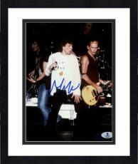 """Framed Mick Jagger Autographed 8""""x 10"""" The Rollinig Stones Singing In White Shirt Photograph - Beckett COA"""