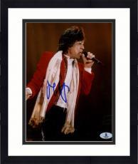 "Framed Mick Jagger Autographed 8""x 10"" The Rollinig Stones Singing Photograph - Beckett COA"