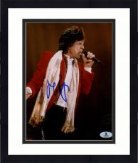 "Framed Mick Jagger Autographed 8""x 10"" The Rollinig Stones Singing Photograph - Beckett COA"
