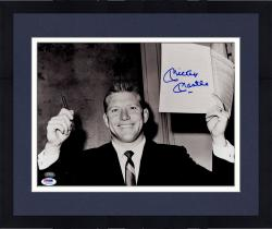 "Framed Mickey Mantle New York Yankees Autographed 11"" x 14"" Holding Contract Photograph (PSA/DNA)"