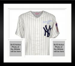 Framed Mickey Mantle New York Yankees Autographed Cooperstown Collection Jersey with No.7 Inscription and PSA/DNA COA