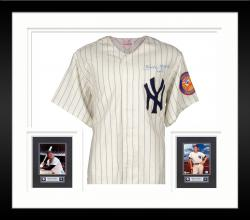 Framed Mickey Mantle New York Yankees Autographed Pinstripe Jersey with #7 Inscription PSA #U05615