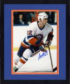 "Framed Mike Bossy New York Islanders Autographed 8"" x 10"" Slanted Skating Photograph"