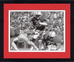 "Framed Mike Rozier Nebraska Cornhuskers Autographed 8"" x 10"" Horizontal B&W Photograph with Heisman 1983 Inscription"