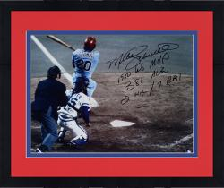 Framed Mike Schmidt Philadelphia Phillies Autographed 16'' x 20'' Home Run Shot Photograph with Multiple Inscriptions-#2-19 of Limited Edition of 20