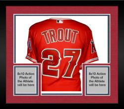 Framed Mike Trout Los Angeles Angels Autographed Majestic Authentic Scarlet Jersey