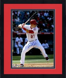 "Framed Mike Trout Los Angeles Angels of Anaheim Autographed 16"" x 20"" Vertical Hitting Photograph"