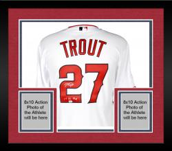 Framed Mike Trout Los Angeles Angels of Anaheim Autographed White Authentic Jersey with 14 AL MVP Inscription