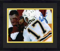 "Framed Milan Lucic Boston Bruins Autographed Fighting with Blood 8"" x 10"" Photo"