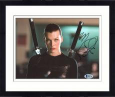 "Framed Milla Jovovich Autographed 8"" x 10"" Resident Evil with Swords on Back Photograph - Beckett COA"