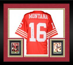Framed Joe Montana San Francisco 49ers Autographed Mitchell & Ness Replica Red Jersey