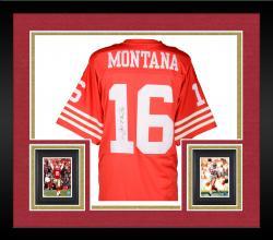 Framed Joe Montana Autographed 49ers Authentic M&N Jersey