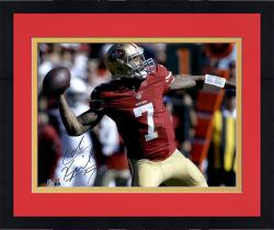 "Framed Colin Kaepernick San Francisco 49ers Autographed 16"" x 20"" Red Uniform Throwing Photograph"