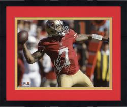"Framed Colin Kaepernick San Francisco 49ers Autographed 8"" x 10"" Red Uniform Throwing Photograph"