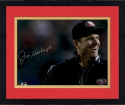 "Framed Jim Harbaugh San Francisco 49ers Autographed 16"" x 20"" Close Up Photograph"
