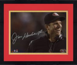 "Framed Jim Harbaugh San Francisco 49ers Autographed 8"" x 10"" Close Up Photograph"