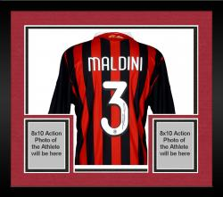 Framed Paolo Maldini AC Milan Autographed Jersey Soccer