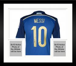 Framed Leo Messi Autographed Jersey