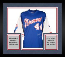 "Framed Hank Aaron Autographed Braves Jersey with ""HOF 82"" Inscription"