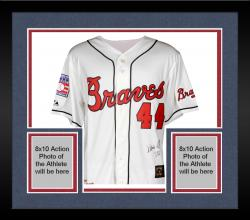 "Framed Hank Aaron Autographed Braves Jersey with ""755 HR"" Inscription"