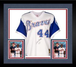 """Framed Hank Aaron Autographed Braves Jersey with """"755"""" Inscription"""