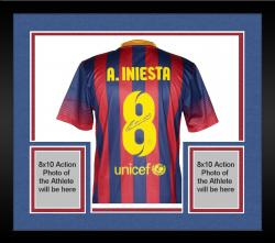 Framed Andres Iniesta Barcelona Autographed Jersey Soccer