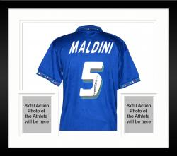 Framed Paolo Maldini Italy Auto Jersey Soccer