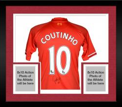 Framed Coutinho Liverpool Autographed Soccer Jersey