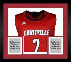 Framed Russ Smith Louisville Cardinals Autographed Replica Red Jersey