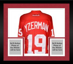"""Framed Steve Yzerman Autographed Red Wings Jersey with """"HOF 09/3x SC Champs"""" Inscription"""