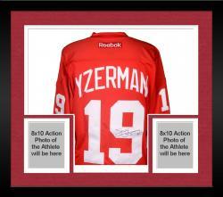 Framed Steve Yzerman Autographed Red Wings Jersey