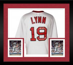 "Framed Fred Lynn Autographed Red Sox Jersey with ""75 AL MVP"" Inscription"