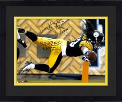 Framed Troy Polamalu Pittsburgh Steelers Autographed 16'' x 20'' TD Dive Photograph with Steeler Nation Inscription