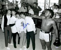 "Framed Muhammad Ali Autographed 20"" x 24"" Punching Beatles Photograph"