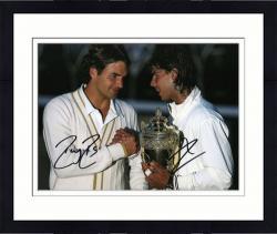 "Framed Roger Federer & Rafael Nadal Dual Autographed 8"" x 10"" 2008 Wimbledon Photograph"