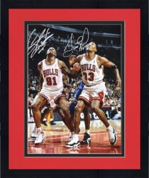 "Framed NBA Chicago Bullls Scottie Pippen & Dennis Rodman Autographed 16"" x 20"" Photo vs. Orlando Magic"