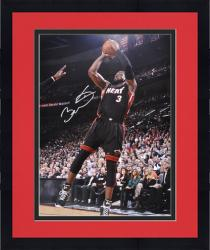"Framed Dwyane Wade Miami Heat Autographed 16"" x 20"" Jump Shot Black Uniform Photograph"