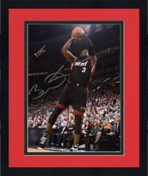 "Framed Dwyane Wade Miami Heat Autographed 8"" x 10"" Black Uniform Jump Shot Photograph"