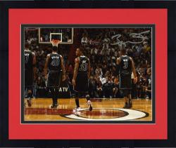 "Framed Dwyane Wade Miami Heat Autographed 8"" x 12"" with Teammates Photograph"