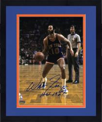 "Framed NBA New York Knicks Walt Frazier Autographed 8"" x 10"" Photograph with HOF 1987 Inscription"