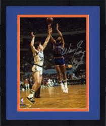 Framed NBA New York Knicks Walt Frazier Autographed 8'' x 10'' vs. Boston Celtics Photo with Clyde Inscription