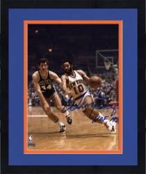 Framed NBA New York Knicks Walt Frazier Autographed 8'' x 10'' vs. Boston Celtics Photo with HOF 1987 Inscription