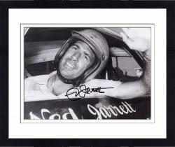 Framed Ned Jarrett Autographed 8'' x 10'' Black and White In Car Photograph