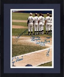 """Framed New York Yankees Mutli-Signed 8"""" x 12"""" Photograph Signed By Joe Dimaggio, Mickey Mantle, Whitey Ford,Phil Rizzuto, Yogi Berra, and Roger Maris (PSA/DNA)"""