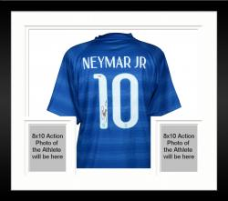 Framed Neymar Brazil National Team Autographed Blue Jersey